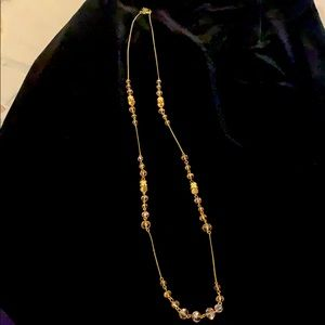 F21 Crystal Bead Necklace - Blush Pink/light gold